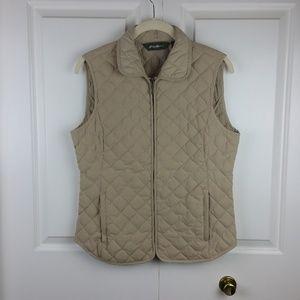 Eddie Bauer Women's Tan Quilted Goose Down Vest S